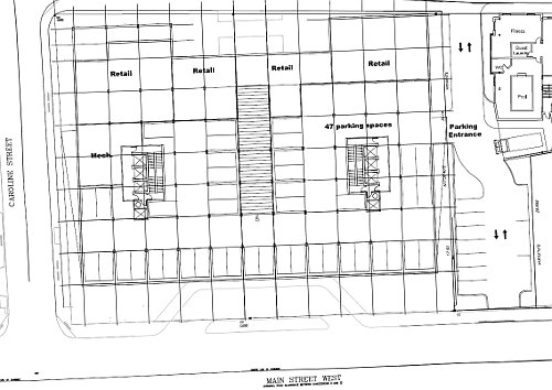 Detail of the plan for 150 Main Street West