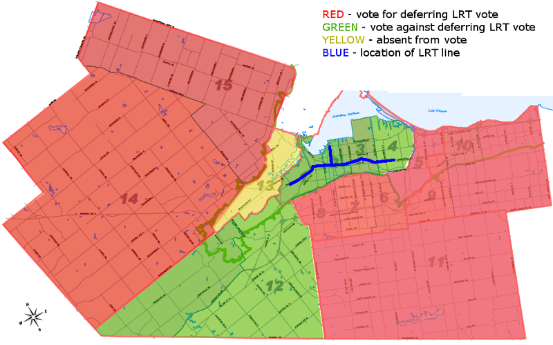 Map: votes for or against LRT deferral motion by ward