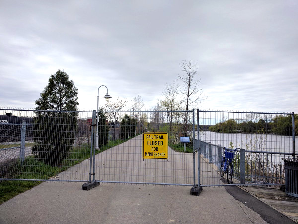 Waterfront Trail closed at Bayfront Park in May, 2017 (RTH file photo)