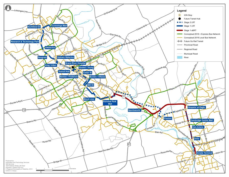 Route For The Lrt In Kitchener Ontario