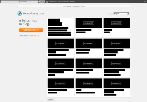 The Wordpress home page has gone dark in protest against PIPA/SOPA