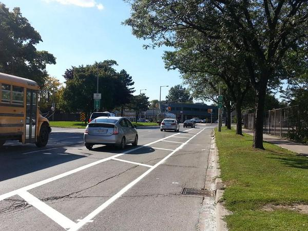 Buffered bike lane on York Boulevard