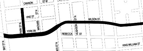 Sections of York/Wilson and Park Street being converted to two-way