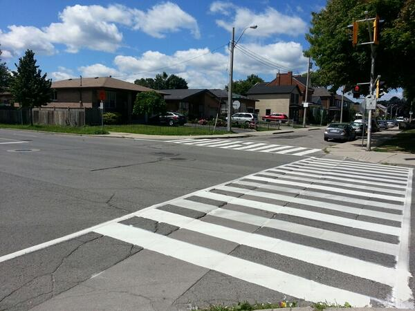 Zebra crossing at James North and Picton