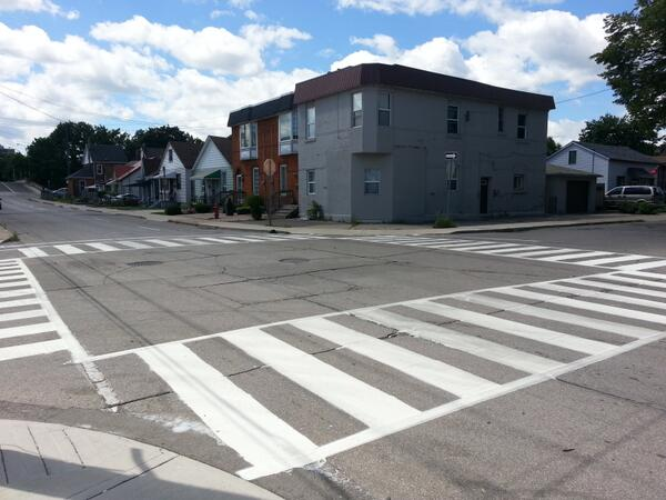 Zebra crossing at John Street North and Simcoe Street (RTH file photo)