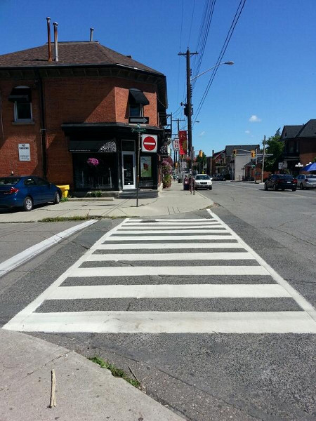 Zebra crossing at Locke and Chatham, west side
