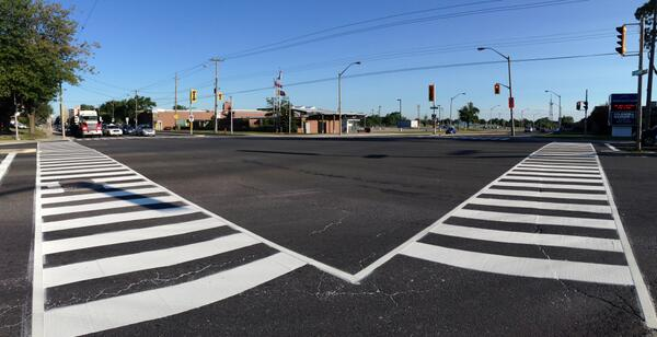 Zebra crossing at Mohawk and Upper Wentworth (Image Credit: City of Hamilton)