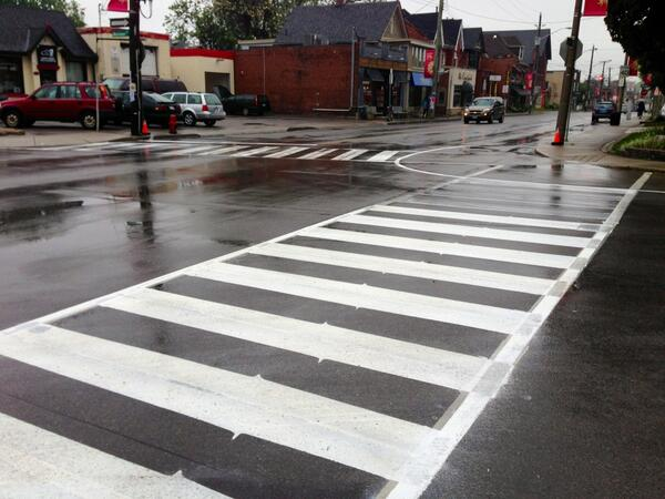Crosswalk hatches and painted bumpouts at Locke and Herkimer