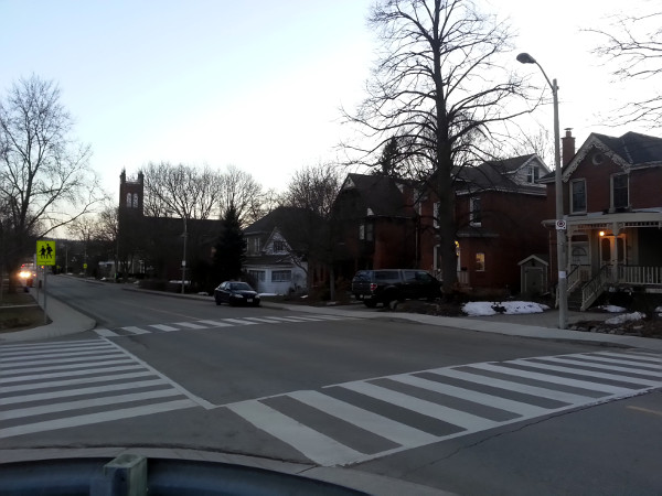 Zebra crosswalk, Sydenham and Alma